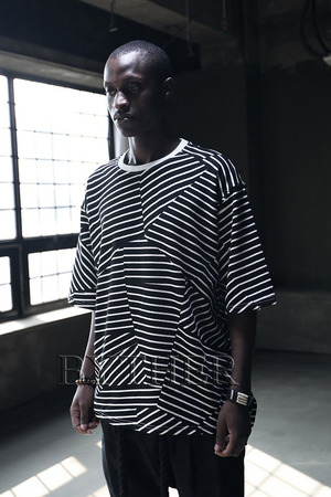 Embossed Line Stripe Pattern Custom Loose Fit T-Shirt