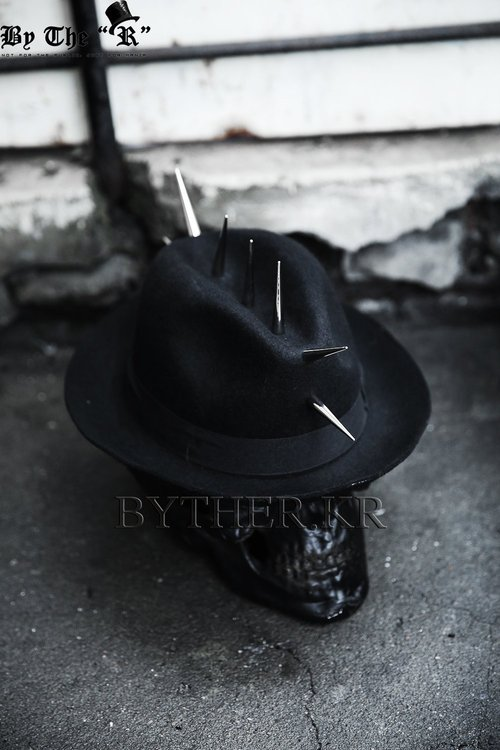 ByTheRByTheR Mohican Style Long Studded Custom Detail Fedora Hat