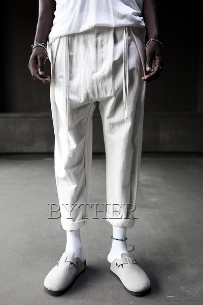 ByTheRLinen String Belt Baggy Pants