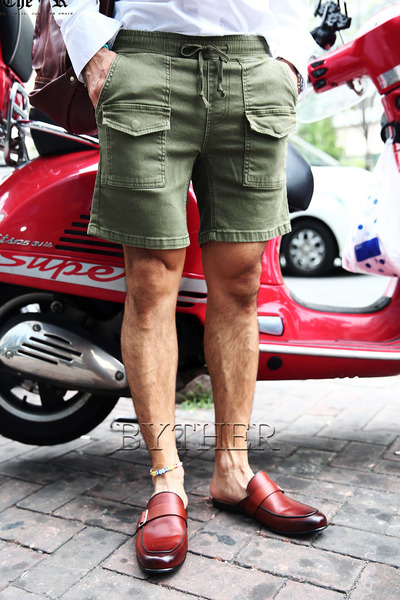 ByTheRWashed Front Cotton Cargo Shorts